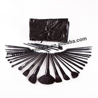 32 Makeup Brush Cosmetic set + Black Leather Case Free Shipping 20sets/lot Makeup Brushes