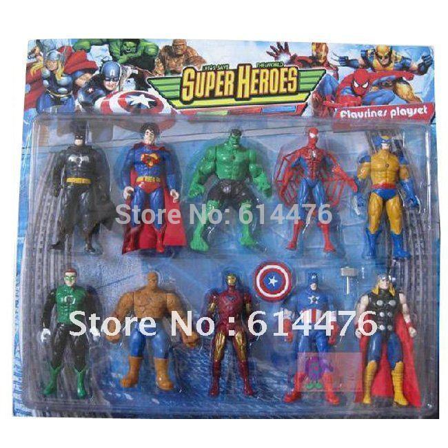 Free shipping 180PCS/lot Marvel The Avengers super heroes Captain America+Batman+Thor+Spiderman+Iron man Figure retail packing(China (Mainland))