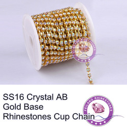 F661109 Crystal chain Rhinestone cup chain CPAM FREE SS16 crystal AB stone Golden base MOQ 10yard/roll sparse claw(China (Mainland))