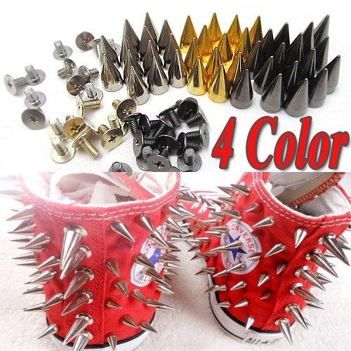 100x 14mm Metal Bullet Spike Stud Punk Bag Belt Clothes Leathercraft Cone Rivet(China (Mainland))