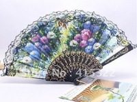 Free shipping (50pcs/lot) assorted flower designs Spanish plastic fan with lace holiday gift or wedding favor