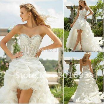 WD737 crystal sweetheart organza ruffle front short and long back wedding dress