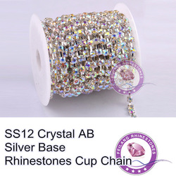 F661207 Crystal chain Rhinestone cup chain CPAM FREE SS12 crystal AB stone Silver base MOQ 10yard/roll sparse claw(China (Mainland))