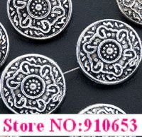 20 Pcs Tibetan Silver Round Floral Beads Spacer 14.5mm (1542)