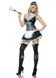 ML5236 Women's Sexy Naughty French Maid Cosplay Costume (Dress+Headpiece+choker) Pretty French Maid Outfit(China (Mainland))