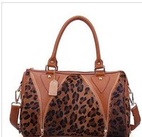 In 2012 autumn winters leather female bag horse hair with cowhide fashion leopard grain portable oblique satchel