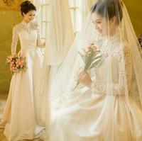Royal lace long-sleeve bridal princess wedding dress formal dress slit neckline 2012 winter wedding new arrival