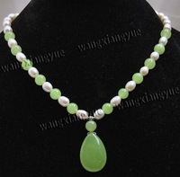 "7-8mm White Akoya Pearl/Peridot Pendant Necklace 18"" G5"