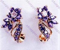 Fashion amethyst 18KT yellow gold filled Dangle Earrings for gift Zircon earrings