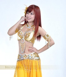 *Free Shipping*#823 Professional Belly Dance Costume 2Pcs Bra+Belt For Performance Dancing,12Colors Available,One Size(China (Mainland))