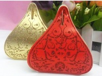 Free shipping European Hot Shinning Water Droplets Beautiful Candy Box Creative DIY Favor Box, gold Powder candy box