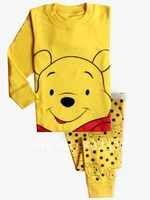 2013 New Children Girls boys Clothing Set Long Sleeves cotton pajamas suit cartoon Winnie Design Kis clothing sets Free Shipping