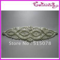 Hotfix Bridal Sash Motif Silver Crystal Clear Glass Rhinestone Applique Iron on Rhinestone Applique