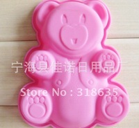 DIY Free Shipping 24pcs/lot pink bear shape Wholesale Silicone Cake Mold/Cupcake Mold /handmade soap mold /baking mould bakeware