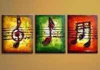 Modern Abstract Huge Art Oil Painting On Canvas : musical note 3pc