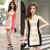 Free Shipping  summer fashion sexy women elegant slim fashion paillette slim hip one-piece dress