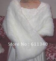 Ivory  Faux Fur Stole Wrap Shrug Bolero Coat Bride shawl Send free D-2