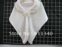 flower brooch Faux Fur Stole Wrap Shrug Bolero Coat Bridal shawl free shipping D-4