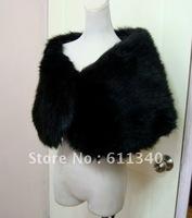 2012 Simple Black Faux Fur Shrug Cape Stole Wrap Shawl Wedding Bridal  D-14