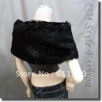 2012 Hot sale Black Faux Fur Shrug Cape Stole Wrap Shawl Wedding Bridal  D-15
