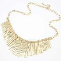 Free Shipping Wholesale Fashion Europe Style Statement Sector Gold Necklace With Tassel Mixed Colors Jewelry Short Necklace