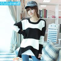 2012 stripe medium-long sweater female loose outerwear women's basic sweater