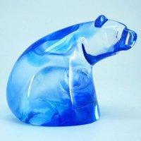 pate de verre crystal---crystal lion