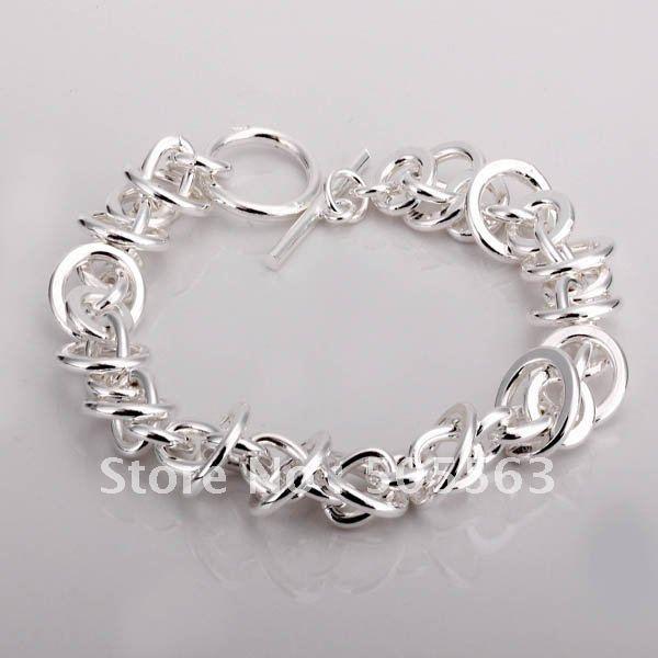 joyas b26/envío gratis, plata círculo 925 enlace pulsera de cadena