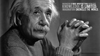 "ART PRINT Albert Einstein Quotes Knowledge Think Different 42"" x 24"" inch poster cloth"
