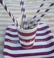Retro Vintage Birthday Party Supplies STRIPEY STRIPED PARTY TABLEWARE Purple Candy Stripe Square Party Paper Plates cups Straws