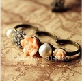 R100 Free shipping!Retro ring Pearl,Blossom,Three connect to point ring.Trendy jewelry