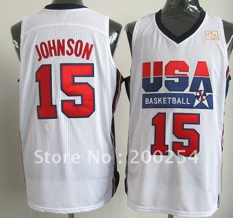 (can mix jersey)!!! Basketball jersey #15 Magic Johnson retro 1992 Dream Team uniforms USA Basketball(China (Mainland))