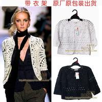 2014 new arrival cardigan handmade half sleeve crochet cutout cardigan cape shirt short