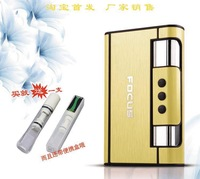 Travelers metal wire drawing with lighter automatic bomb smoke cigarette case can put 10 branch