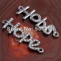 Wholesale 30PCS Metalblack HOPE Shape Crystal Rhinestones Sideways Bracelet Connector Charm Beads Fit DIY Jewelry Findings