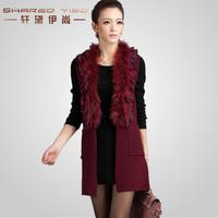 2012 autumn raccoon fur slim ruffle sweater long design cardigan sweater cape female
