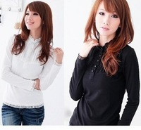 Free Shipping  autumn plus size clothing stand collar lace slim long-sleeve basic shirt Women all-match cotton t