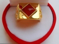 men's yellow gold  red jade  ring adjust size  free shipping