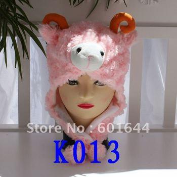 Free Shipping 100pcs/lot Pink Sheep Animal Hat Cartoon Winter Hat Warm Plush Animal Hat More Style Can Choose