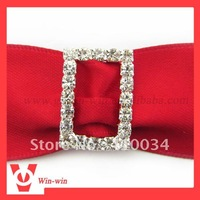 Free shipping, small rectangle crystal buckle for invitations, invitation ribbon slider, invitation buckle, high quality