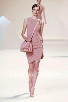2013 Elie Saab Couture Designer Dark Pink Sheath Chiffon Elegant Knee Length Beautiful Modest Party Evening Gown Cocktail Dress