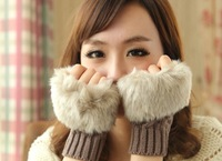 2013 Original han accomplishment lovely lady joker imitation rabbit hair winter warm wool knitting short half mittens
