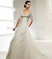 Free Shipping 2012 Hot Sale Sexy Fashion V-neck Half sleeves Satin and Lace with Appliques Floor-Length Wedding Dress 20120093