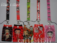 Free Shipping Betty Boop mobile cotton pouch with lanyard Mix Order