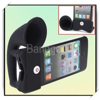 10pcs/lot Portable Horn  Silicone Stand Amplifier Speaker for iPhone 4 4S 4G,Free shipping