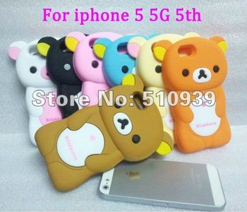 Up to 30% OFF!Free Dropshipping Rilakkuma Bear Cute 3D Movable Flip silicon Case Skin Cover for iPhone 5 5G&5th 1PCS/lot