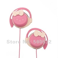 Free shipping, Hello kitty multi-media Earphones Cartoon ear hook headphone MP3/MP4 earphone for womens, 10 pcs/lot KT-0464