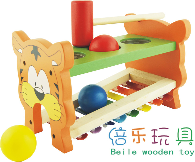 Child baby music toy 1 - 2 years old orff musical instrument wooden knock piano multifunctional golf cart(China (Mainland))