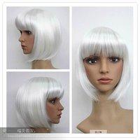 Kanekalon NEW 8881--AB2HIGH HEAT RESISTANT SUPER SLEEK LADY ASH color silvery WHITE Short wigs queen brazilian   hair no lace