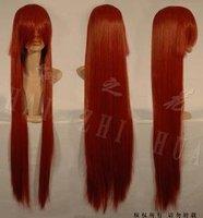 Evil spirit philos, 1 meters long straight hair,Wine redcos wig, ancient costume wig long straight hair, phenanthrene,, 100 cm